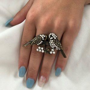 Lovebird Double Ring + Gold Rhinestone